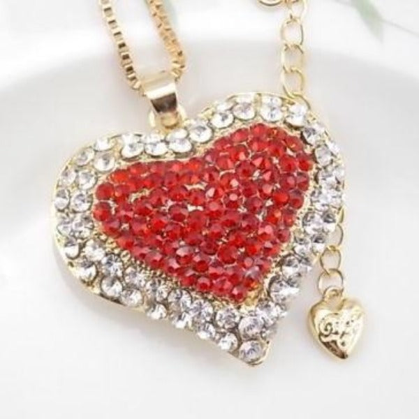 Betsey Johnson Heart Red Inlay Crystal Gold Necklace