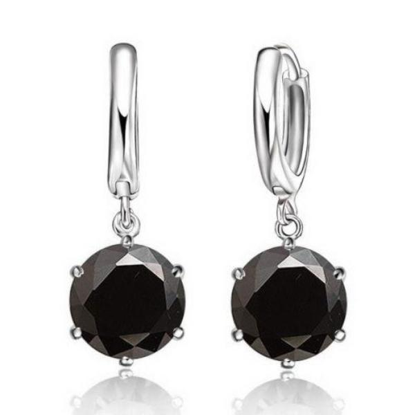 Black Round CZ Silver Necklace & Earring 2 Piece Set