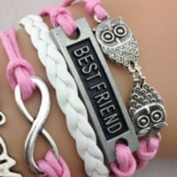 Best Friend, Owl, Infinity, Love, Pink & White, Friendship Bracelet
