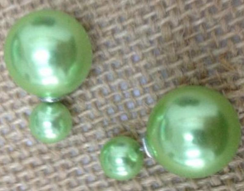 Light Green Round Ball Front & Back (16mm & 8mm) Earrings