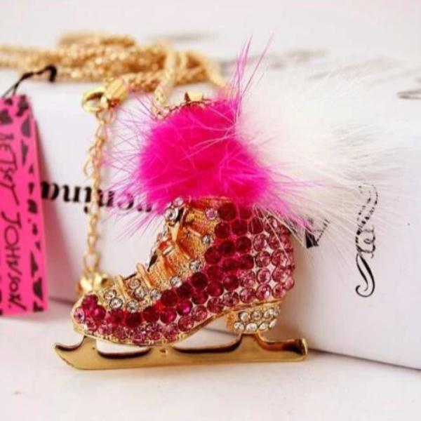 Betsey Johnson Ice Skates Pink & White Crystal Pendant Necklace
