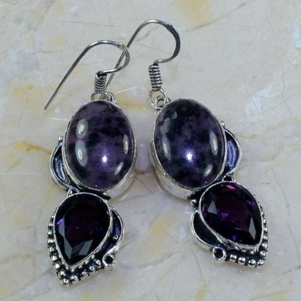 "Agate & Purple Amethyst 2 1/4"" Silver Dangle Earrings"