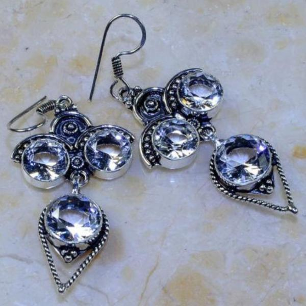 "WHITE TOPAZ 2 1/2"" ORNATE SILVER PLATED DANGLE EARRINGS"