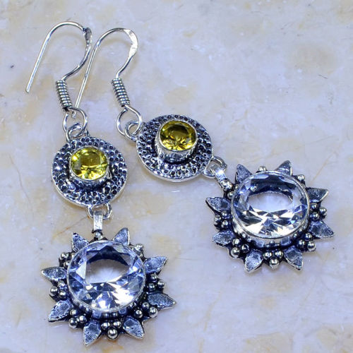 WHITE TOPAZ & YELLOW CITRINE 2 1/4