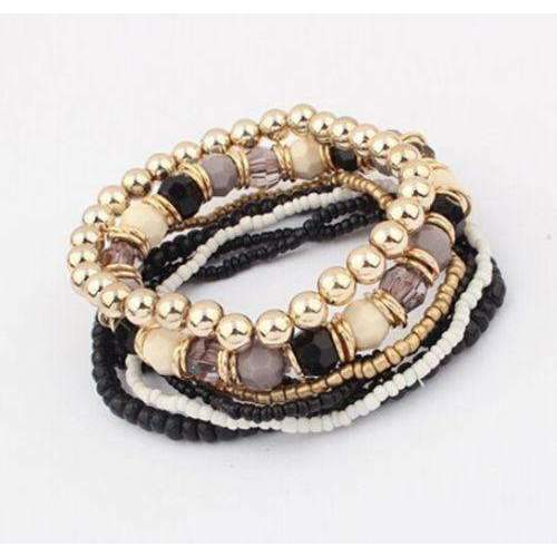 7 Piece Brown Black Gold Multi-layer Acrylic Beaded Bracelets