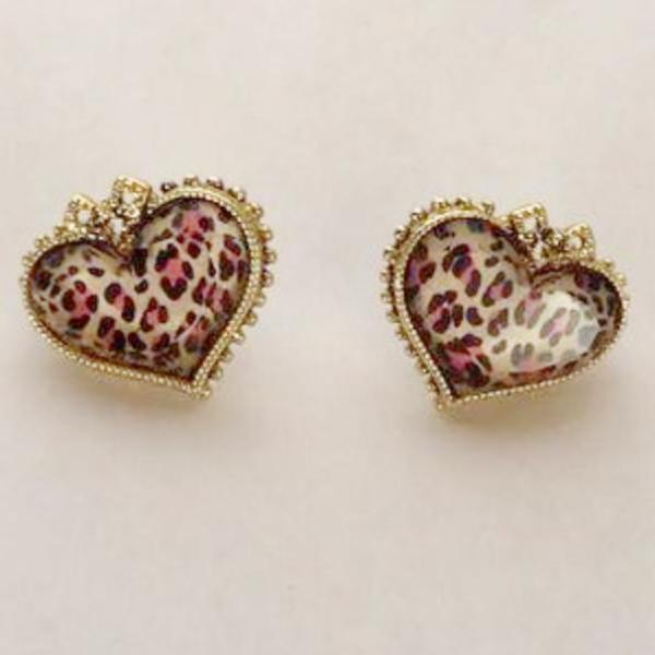 Betsey Johnson Pink Leopard Print Heart With Bow Bronze Earrings