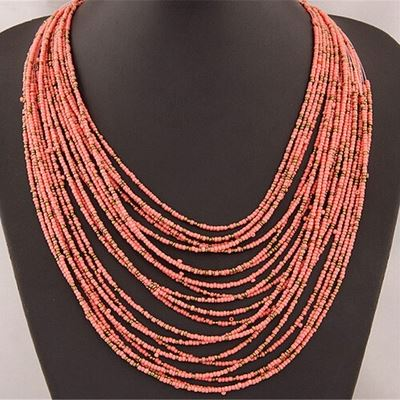 Pink Seed Bead Bohemian Multi-Layer String Necklace