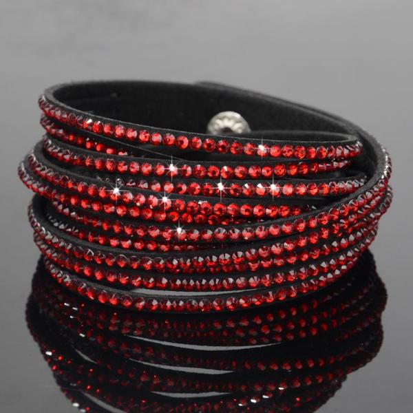 Red & Black Suede Sparkly Rhinestone Double Wrap Bracelet