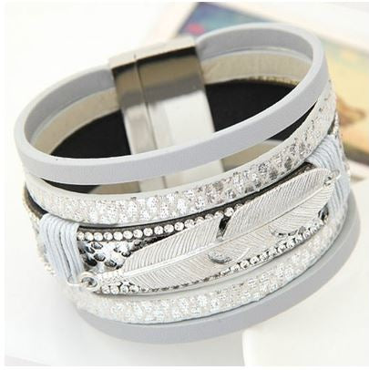 Silver Grey Faux Leather & Silver Alloy Feather Charm Wide Magnetic Bracelet