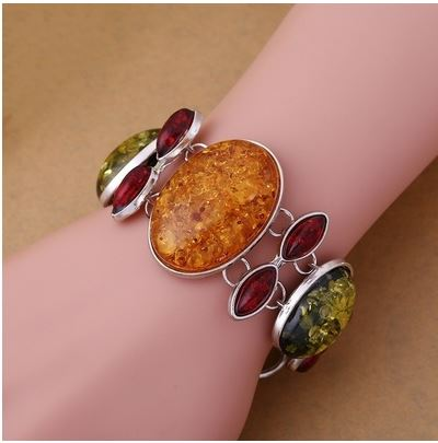 Faux Amber Gemstone Multi-Color Silver Plated Statement Bracelet