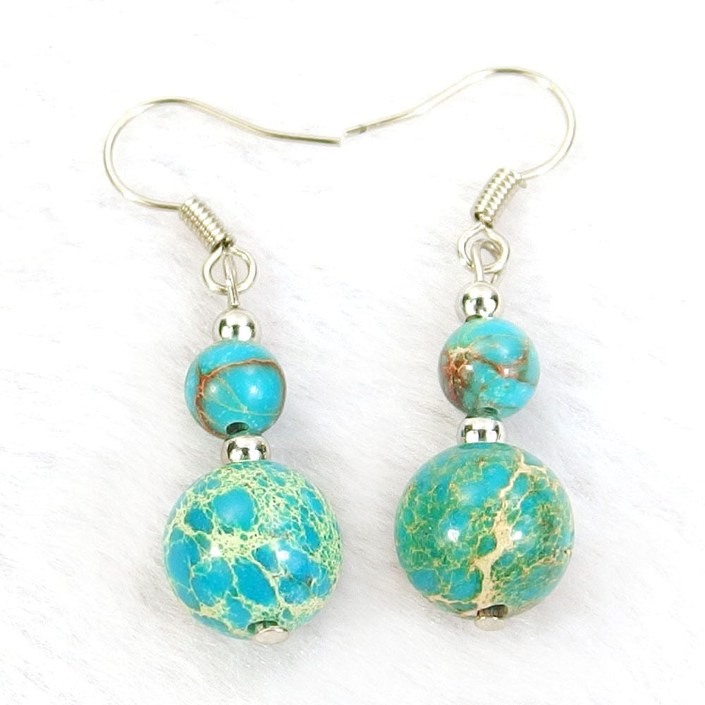 Teal Blue Sea Sediment Jasper Natural Gemstone Beads Silver Plated Dangle Earrings