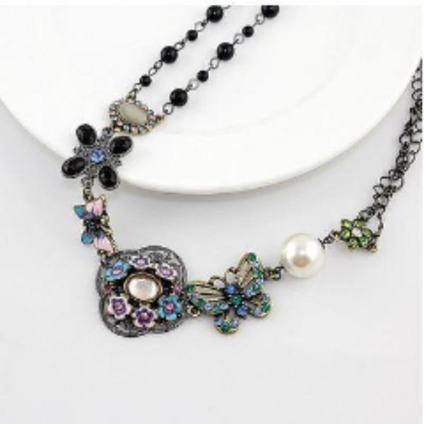 Faux Pearl, Flower, Butterfly Multi-Color Enamel Black Bead Necklace