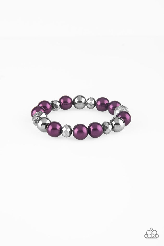 """Very VIP - Purple"" Beaded Stretch Bracelet"