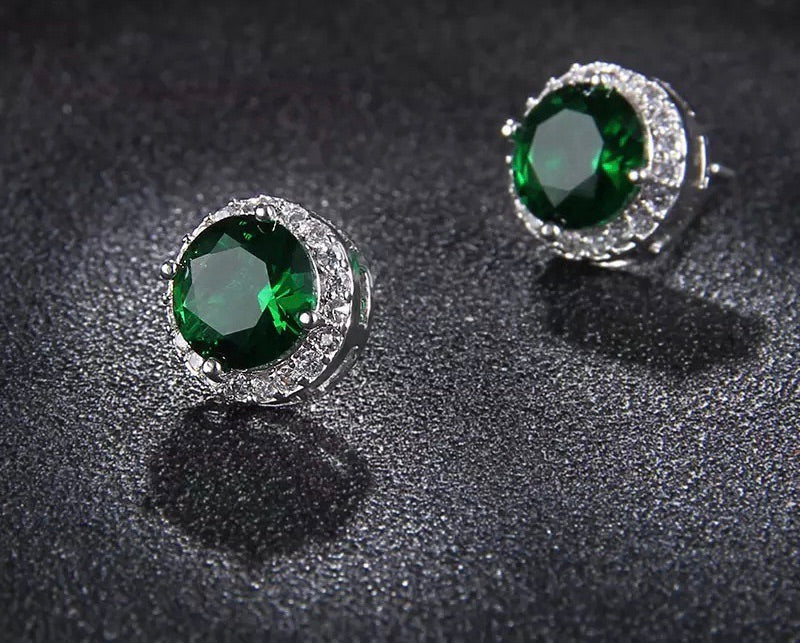 Lab made emerald studs
