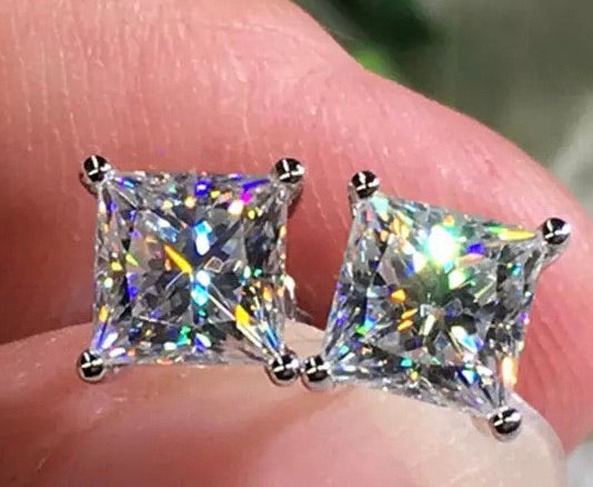 Diamond silver stud earrings