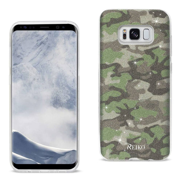 Samsung Galaxy S8 Edge- S8 Plus Shine Glitter Shimmer Camouflage Hybrid Case In Green