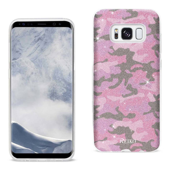 Samsung Galaxy S8 Edge- S8 Plus Shine Glitter Shimmer Camouflage Hybrid Case In Hot Pink