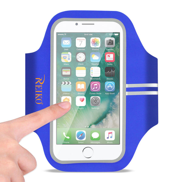 Reiko Running Sports Armband For Iphone 7 Plus- 6s Plus Or 5.5 Inches Device In Blue (5.5x5.5 Inches)