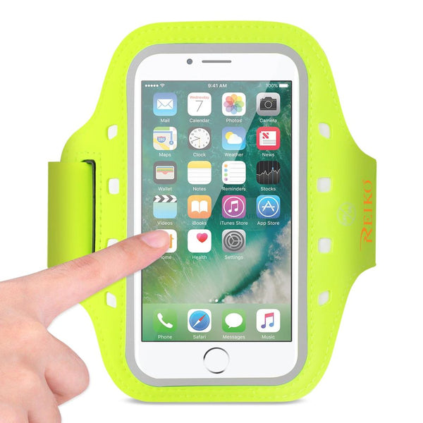 Reiko Running Sports Armband For Iphone 7- 6- 6s Or 5 Inches Device With Led In Green (5x5 Inches)