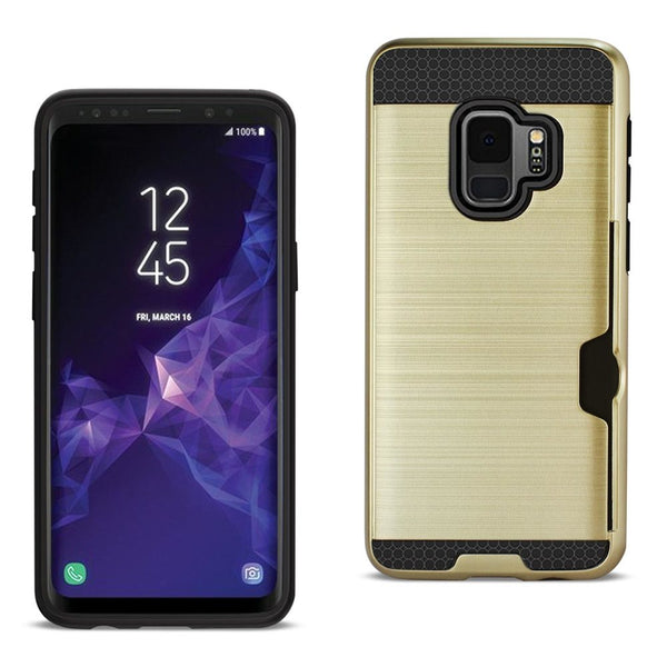 Samsung Galaxy S9 Slim Armor Hybrid Case With Card Holder In Gold