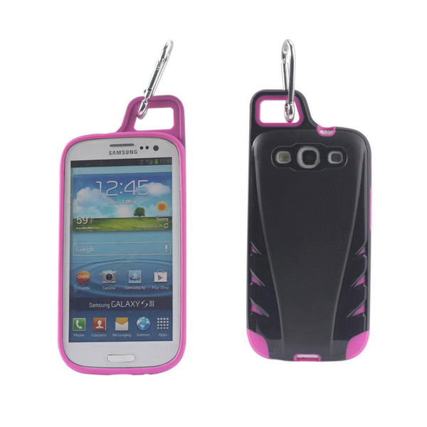 Reiko Samsung Galaxy S3 Dropproof Workout Hybrid Case With Hook In Black Hot Pink