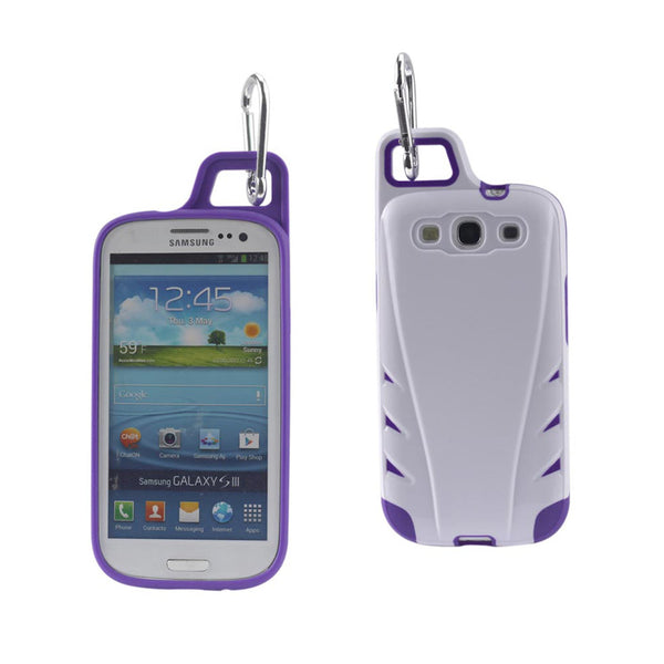 Reiko Samsung Galaxy S3 Dropproof Workout Hybrid Case With Hook In White Purple