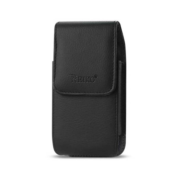 Reiko Leather Vertical Pouch With Embossed Reiko Logo And Simple Design In Black (5.8x3.0x0.7 Inches)