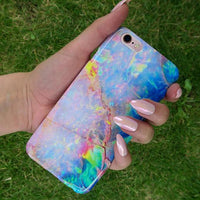 Iridescent Opal Crystal Phone Case - Holographic Marble