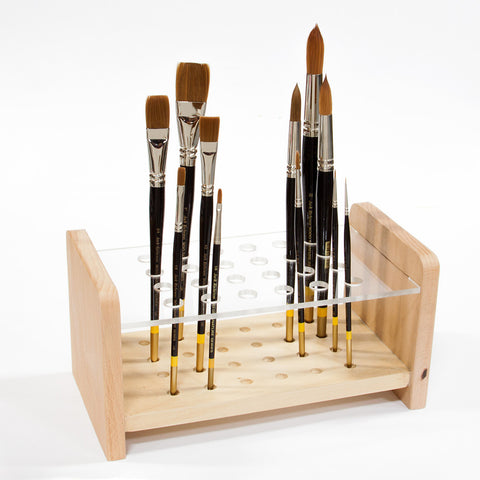 Wooden Acrylic Brush Holder