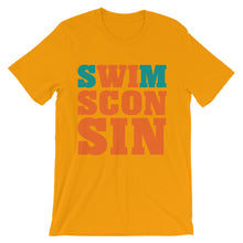 Swimsconsin bright teal/orange Unisex short sleeve t-shirt