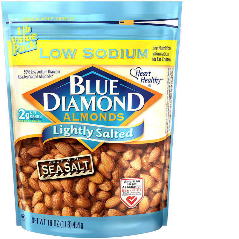 16oz Bag of Lightly Salted Low Sodium Almonds
