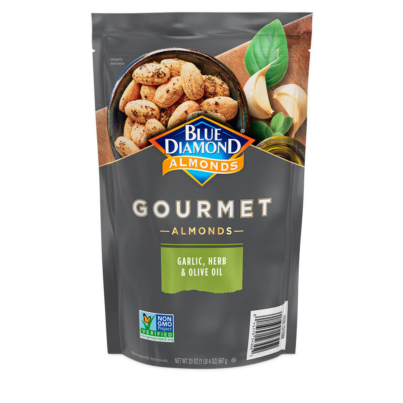 Gourmet Almonds: Garlic, Herb & Olive Oil, 20oz Bag
