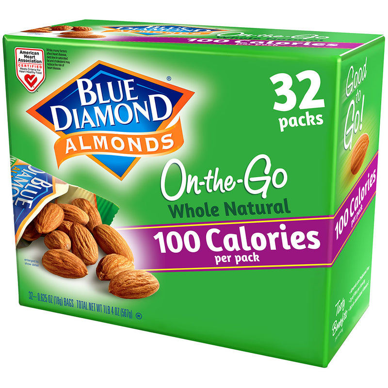 32 Count of 100 Calorie On-The-Go Bags of Whole Natural Almonds