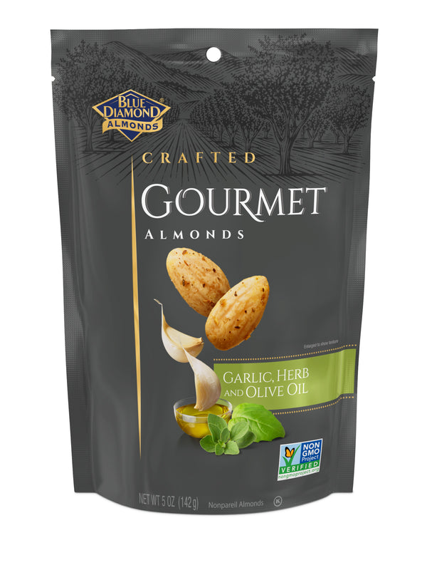 Gourmet Almonds, Garlic, Herb and Olive Oil, 5oz Bags
