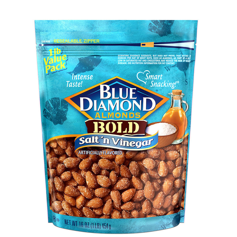 Salt 'n Vinegar Almonds, 16oz, Individual Package