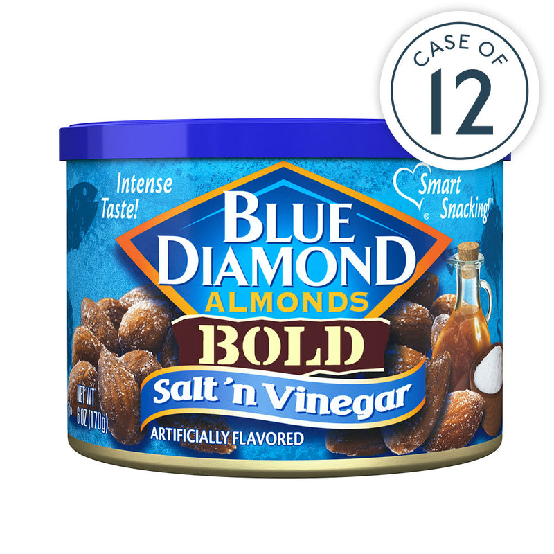 Salt 'n Vinegar Almonds, Individual 6oz Cans, Case of 12