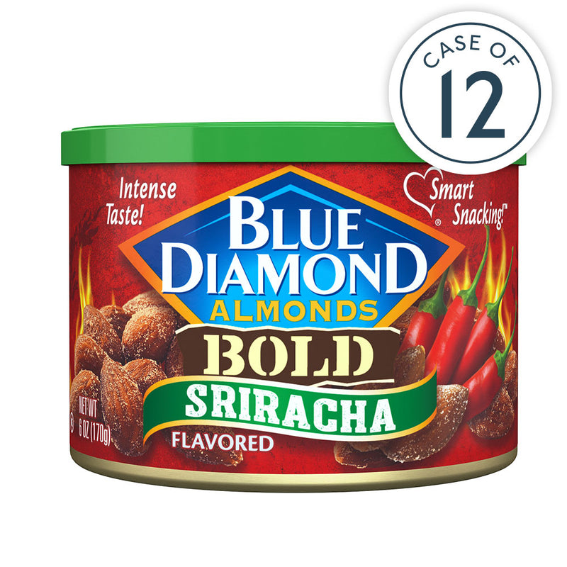 Sriracha Flavored Almonds in 6oz cans, Package of 12