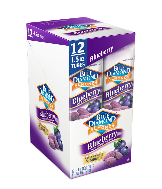 Caddie of 12,  1.5oz Tubes of Oven Roasted Blueberry Almonds