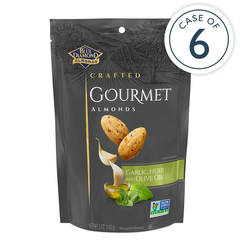 Case of 6, 5oz Bags of Garlic, Herb and Olive Oil Gourmet Almonds