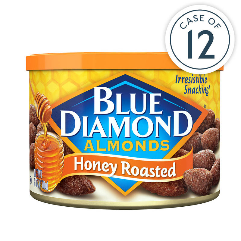 6oz Cans of Honey Roasted Almonds in a Case of 12