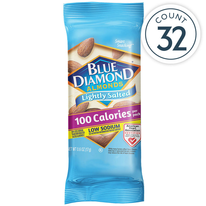 32 Count, 100 Calorie On-The-Go Bags, Lightly Salted Low Sodium Almonds Individual Packet