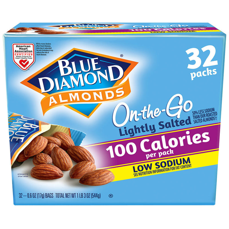 32 Count, 100 Calorie On-The-Go Bags, Lightly Salted Low Sodium Almonds