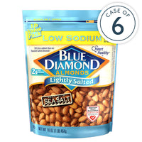 16oz Bag of Lightly Salted Low Sodium Almonds in a case of 6