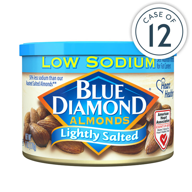 6oz cans of Lightly Salted Low Sodium Almonds in a case of 12