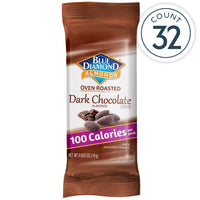 Individual packet of the 32 Count, 100 Calorie On-The-Go Bags of Oven Roasted Dark Chocolate Almonds