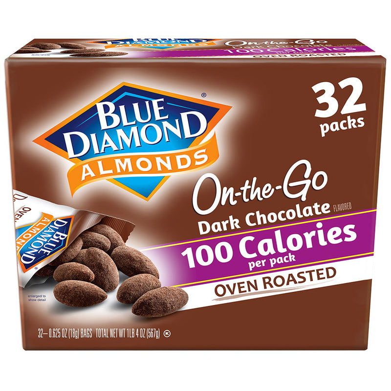 32 Count of 100 Calorie On-The-Go Bags of Oven Roasted Dark Chocolate Almonds