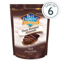14oz Bag of Oven Roasted Dark Chocolate Almonds in a case of 6