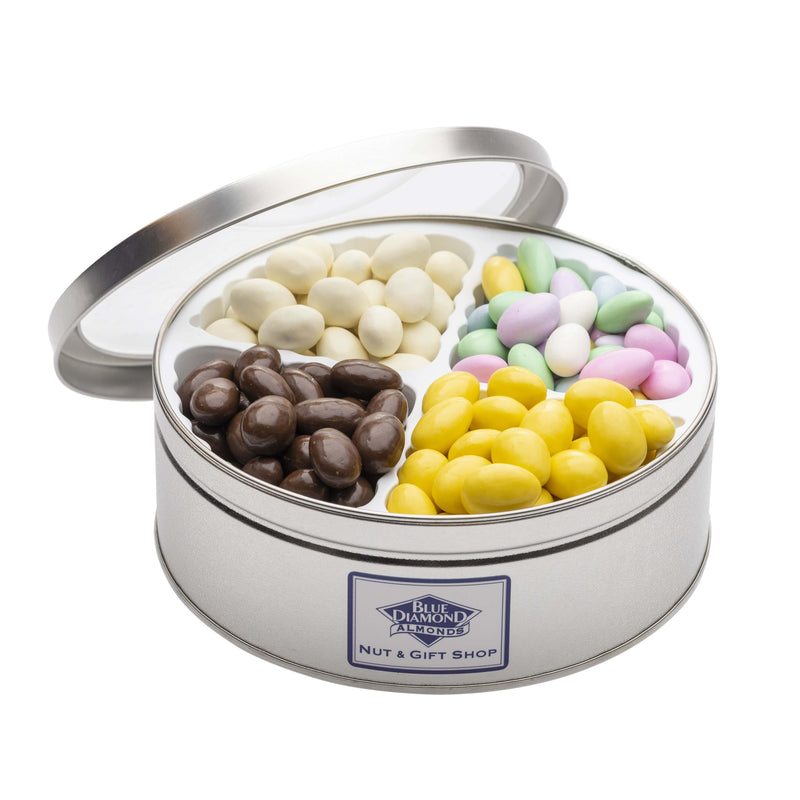 Open tin of candy coated almonds with Blue Diamond Nut & Gift Shop logo