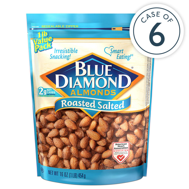 Case of 6, 16oz Bag of Roasted Salted Almonds