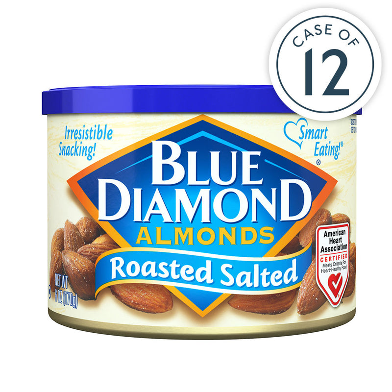 Case of 12,  6oz Cans of Roasted Salted Almonds